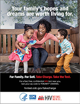 Take Charge. Take the Test. Poster showing African American woman and two children.