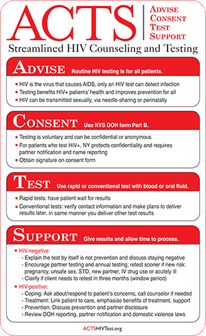 Advise, Consent, Test, Support (ACTS) Streamlined HIV Counseling and Testing pocket guide