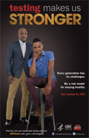 Testing Makes Us Stronger thumbnail poster image of young African American male sitting on stool and older African American male standing behind him. Every generation has its challenges. Be a role model for staying healthy. Get tested for HIV. HHS, CDC, Act Against AIDS.