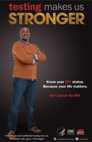 Testing Makes Us Stronger thumbnail poster image of African American male with his arms crossed. Know your HIV status. Because your life matters. Get tested for HIV. HHS, CDC, Act Against AIDS.