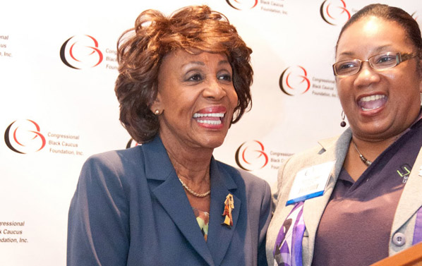 Rep. Maxine Waters receives accolades from AAALI during the 2012 CBCF ALC (with AAALI co-chair Bernice Frazier of SCLF)