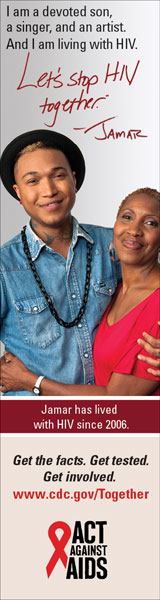 Let's Stop HIV Together Vertical Web Banner of Jamar and His Mother. www.cdc.gov/actagainstaids