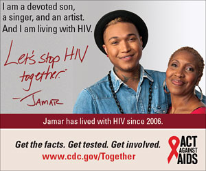 Let's Stop HIV Together Square Web Banner of Jamar and His Mother. www.cdc.gov/actagainstaids