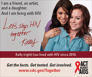Let's Stop HIV Together Square Web Banner of Kelly (Right) and Her Best Friend. www.cdc.gov/actagainstaids