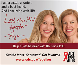 Let's Stop HIV Together Square Web Banner of Regan (Left) and Her Sister. www.cdc.gov/actagainstaids