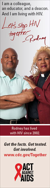 Let's Stop HIV Together Vertical Web Banner of Rodney and His Pastor. www.cdc.gov/actagainstaids