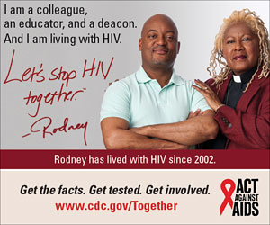 Let's Stop HIV Together Square Web Banner of Rodney and His Pastor. www.cdc.gov/actagainstaids