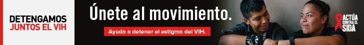 Detengamos Juntos el VIH. Únete al movimiento. Ayuda a detener el estigma del VIH. Actúa Contra El SIDA. Un joven Latino y su hermana Latina mirándose y tocándose las manos.