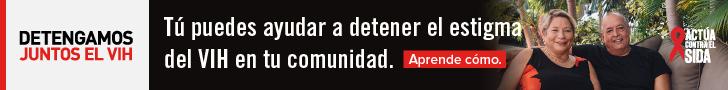 Detengamos Juntos el VIH. Tú puedes ayudar a detener el estigma del VIH en tu comunidad. Aprende como. Actúa Contra El SIDA. Mujer y hombre Latino sentados en un sillón y sonriendo.
