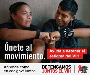 Únete al movimiento. Ayuda a detener el estigma del VIH. Aprenda como en cdc.gov/juntos Detengamos Juntos el VIH. Actúa Contra El SIDA. Una mujer Latina y su hermano sentados y tocándose las manos.