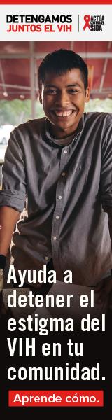 Detengamos Juntos el VIH. Actúa Contra El SIDA. Ayuda a detener el estigma del VIH en tu comunidad. Un hombre Latino joven sonriendo.