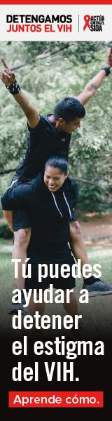 Detengamos Juntos el VIH. Actúa Contra El SIDA. Tú puedes ayudar a detener el estigma del VIH. Aprende como. Un hombre Latino con su hermana Latina jugando juntos con los brazos en el aire.