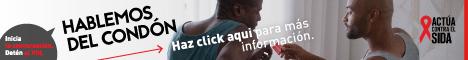 Inicia la conversación. Detén el VIH. Hablemos del condón. Haz clic aquí para unirte a la conversación sobre la prevención del VIH. Actúa contra el SIDA. Instagram/Act Against AIDS, Facebook/StartTalkingHIV, Twitter @TalkHIV