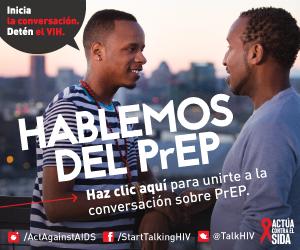 Dos hombres hablando de PreP con una silueta de edificios en la distancia. Inicia la conversación. Detén el VIH. Hablemos del PrEP. Haz clic aquí para unirte a la conversación sobre PrEP. Instagram/Act Against AIDS, Facebook/StartTalkingHIV, Twitter @TalkHIV, Actúa Contra el SIDA.