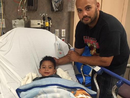 Francisco in the hospital with his dad.