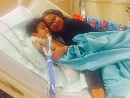 Francisco in the hospital with his mom.