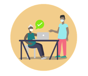 Colorful illustration of a person sitting at a desk talking with another person over a computer
