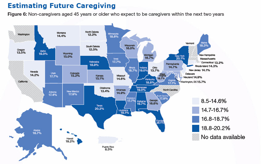 Estimating Future Caregiving. Figure 6: Non-caregivers aged 45 years or older who expect to be caregivers within the next two years. (%): Alabama-19.7, Alaska-18.7,Arizona-17.4, Arkansas-14.9, California- No data available, Colorado-15.2, Connecticut-13.2, Delaware- No data available, Florida-20.1, Georgia-16.6, Hawaii-19.2 ,Idaho-13.4 ,Illinois-18.7, Iowa-17.7, Kansas-15.1, Kentucky-18.8, Louisiana-19.1 ,Maine-18.3, Maryland-14.9, Massachusetts- No data available,Michigan-16.7 ,Minnesota-18.6, Mississippi-17.7 ,Missouri-14.6, Montana-14.4 ,Nebraska-18.9, Nevada-14.2, New Hampshire - No data available, New Jersey-14.1, New Mexico-17.9, New York-20.1, North Carolina - No data available, North Dakota-12.2 ,Ohio-13.7 ,Oklahoma-13.4, Oregon-13.5 ,Pennsylvania-14.7 ,Rhode Island-14.3 ,South Carolina-17.9, South Dakota-12.5, Tennessee-19.0 ,Texas-20.2, Utah-17.7, Vermont - No data available, Virginia-17.1 ,Washington - No data available, West Virginia-16.7 ,Wisconsin-16.0 ,Wyoming-15.0, Washington, DC-15.7, Puerto Rico-8.5