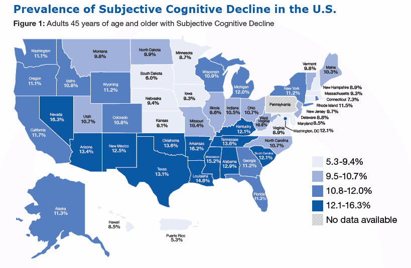 Prevalence of Subjective Cognitive Decline in the U.S., Figure 1: Adults 45 years of age and older with Subjective Cognitive Decline (%) Alabama-12.9% Alaska-11.3% Arizona-13.4% Arkansas-16.2% California-11.7% Colorado-10.8% Connecticut-7.3% Delaware-8.8% Florida-11.3% Georgia-11.2% Hawaii-8.5, Idaho-10.8, Illinois-9.6, Indiana-10.5, Iowa-9.3, Kansas-9.1, Kentucky-12.1, Louisiana-14.6, Maine-10.3, Maryland-8.5, Massachusetts-9.3, Michigan-12.0, Minnesota-8.7, Mississippi-15.2, Missouri-10.4, Montana-9.8, Nebraska-9.4, Nevada-16.3, New Hampshire-8.9, New Jersey-9.7, New Mexico-12.5, New York-11.2, North Carolina- 10.7, North Dakota-9.9, Ohio-10.7, Oklahoma-13.6, Oregon-11.1, Pennsylvania - No data available, Rhode Island-11.5, South Carolina-12.1, South Dakota-6.0, Tennessee-13.6, Texas-13.1, Utah-10.7, Vermont-9.8, Virginia-8.9, Washington-11.1, West Virginia-10.0, Wisconsin-10.9, Wyoming-11.2, Washington, DC-12.1, Puerto Rico-5.3