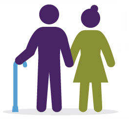 patient with cane and caregiver clip art