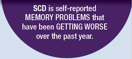 SCD is self-reported MEMORY PROBLEMS that have been GETTING WORSE over the past year.