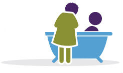 Clip art of a caregiver helping a patient in a tub