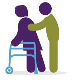 clip art of patient with walker and caregiver