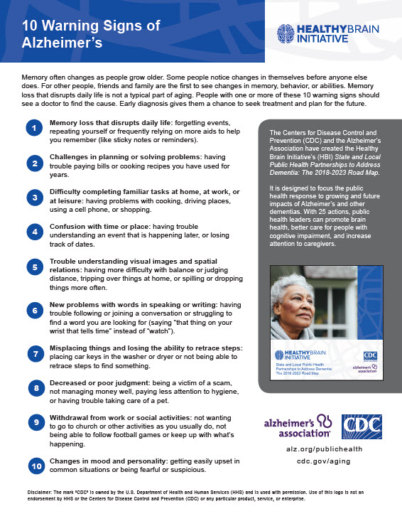 Ten warning signs of Alzheimer's cover