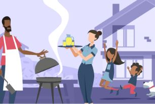 Colorful illustration of family having a backyard barbecue, 2 happy children, a dog, mom with lemonade pitcher, dad at grill