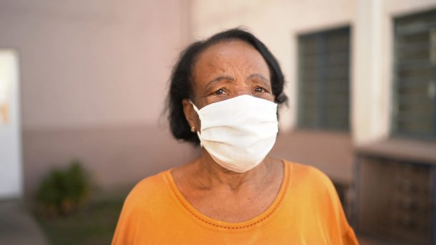 Senior woman wearing face mask