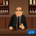 Man drinking alcohol at a bar