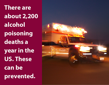 There are about 2,200 alcohol poisoning deaths a year in the US. These can be prevented.