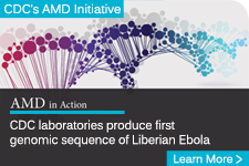 illustration of colorful DNA strand behind the text - CDC laboratories produce first genomic sequence of Liberian Ebola