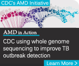 illustration of colorful DNA strand behind the text - Learn More CDC using whole genome sequencing to improve TB outbreak detection