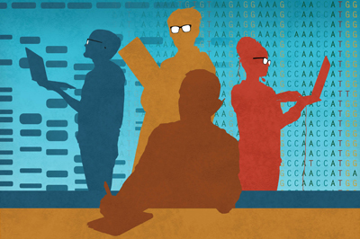 illustration of PulseNet scientists with a background that symbolizes the transition from PFGE technology to whole genome sequencing technology