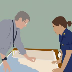 illustration of two epidemiologists standing on either side of a table with maps