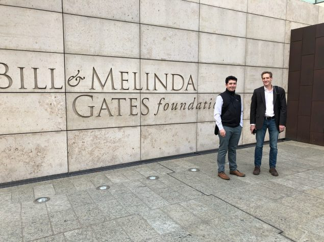 Greg Armstrong and Duncan MacCannell outside of the Gates Foundation building in Seattle