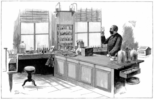 Bacteriologist Robert Koch in his laboratory