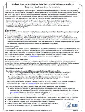 Factsheet-- Anthrax Emergency: How to Take Doxycycline to Prevent Anthrax Emergency Use Instructions for Recipients