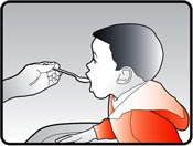 Image of person giving child the correct dose of doxycycline mixed with food or drink.