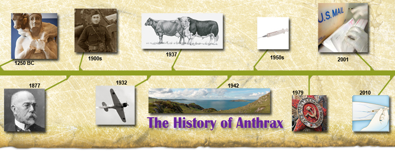 An image based timeline of Anthrax's history.  From CDC.gov