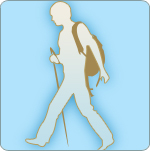 illustration of hiker with walking stick