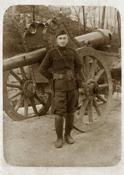 Soldier in uniform with cannon