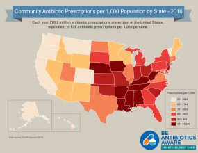 Map showing Community Antibiotic Prescriptions per 1,000 Population by State in 2015.
