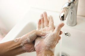 Hand-washing germs from hands