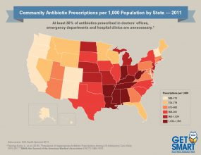 2011 Antibiotic Prescribing Rates by State Across the U.S. - 300px