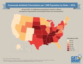 2012 Antibiotic Prescribing Rates by State Across the U.S. - 300px