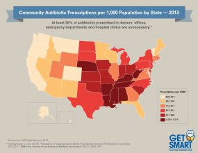 2013 Antibiotic Prescribing Rates by State Across the U.S. - 300px