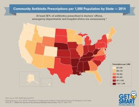2014 Antibiotic Prescribing Rates by State Across the U.S. - 300px