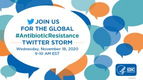 Twitter Storm graphic.  Join us for the global #AntibioticResistance Twitter Storm.